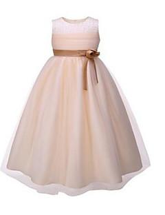 Ball Gown Knee-length Flower Girl Dress - Organza Sleeveless Jewel with Beading / Flower(s) / Sash / Ribbon