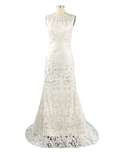 Formal Evening Dress Sheath / Column Jewel Sweep / Brush Train Lace / Satin with Lace