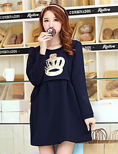 Maternity Casual/Daily Cute Loose Dress,Solid Round Neck Above Knee Long Sleeve Blue / Pink Cotton Winter Thick