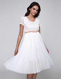 Mulheres Vestido,Casual Sólido Médio Manga Curta Rosa / Branco / Bege Algodão Verão