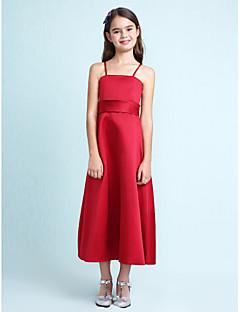 Lanting Bride® באורך  הברך סאטן שמלה לשושבינות הצעירות  גזרת A / נסיכה רצועות ספגטי טבעי עם קפלים / סרט