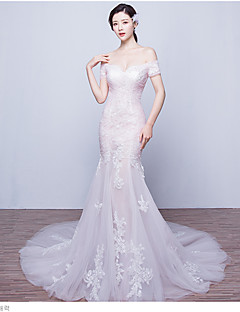 Trumpet / Mermaid Wedding Dress See-Through Court Train Off-the-shoulder Tulle with Appliques