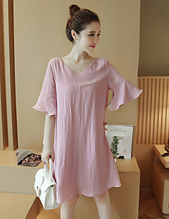 Maternity Casual/Daily Simple Loose Dress,Solid V Neck Above Knee ½ Length Sleeve Pink Polyester Summer