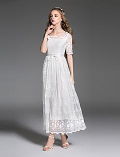es.dannuo Frauengehen einfach eine Linie Kleid, fest / geometrisch-Boot-Ausschnitt midi kurze Ärmel weiß Polyester Sommer