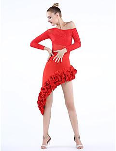 Dança Latina Roupa Mulheres Actuação Treino Renda Tule Pano 2 Peças Manga Comprida Saia Topo S:70 M:70 L:70 XL:70 XXL:70