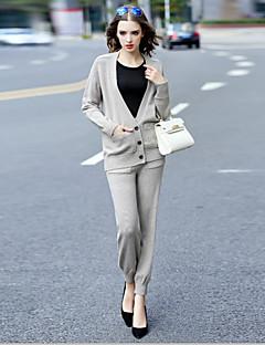 Dames Vintage Herfst Set Pantalon Suits,Casual/Dagelijks Effen V-hals Lange mouw Grijs Overige Medium