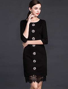jojo Hans kvinnors arbete sofistikerad slida dresssolid runt halsen ovanför knät ärm svart polyester