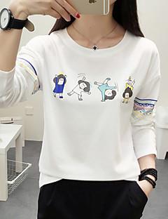 T-shirt Da donna Per uscire / Casual Semplice Autunno,Con stampe Rotonda Cotone Bianco / Grigio / Verde Manica lunga Medio spessore