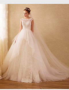 Ball Gown Wedding Dress Sparkle & Shine Sweep / Brush Train Scoop Organza with Appliques Beading Lace