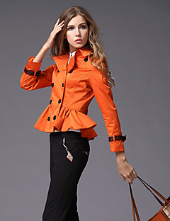 BURDULLY Women's Shirt Collar Long Sleeve Trench Coat Orange / Khaki-9118