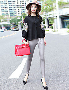 Dames Vintage Lente Set Pantalon Suits,Uitgaan Effen Strakke ronde hals Lange mouw Wit / Zwart Katoen / Polyester Ondoorzichtig
