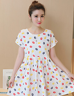 Maternity Casual/Daily Simple Loose Dress,Print Round Neck Above Knee Short Sleeve White Polyester Summer