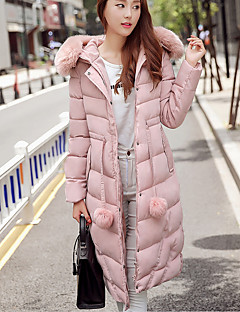Women's Long Padded Coat,Simple Casual/Daily Solid-Polyester Polyester Long Sleeve Hooded Pink / Black / Gray