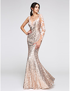 2017 TS Couture® Formal Evening Dress Trumpet / Mermaid Scoop Floor-length Sequined with Appliques / Sequins