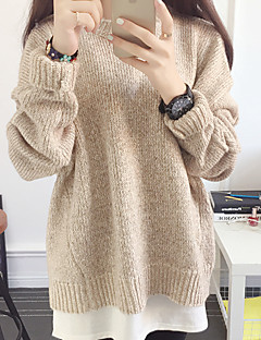 Women's Going out Vintage Regular Pullover,Solid Beige / Gray Round Neck Long Sleeve Acrylic Fall / Winter Thick Micro-elastic