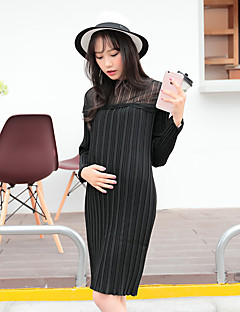 Maternity Casual/Daily Simple Loose Dress,Solid Round Neck Above Knee Long Sleeve White / Black / Gray Polyester Fall
