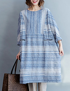 Women's Striped Blue Jumpsuits,Simple Round Neck ¾ Sleeve