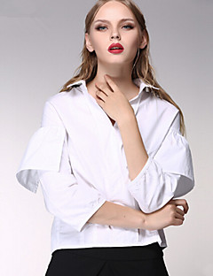 ARNE® Damen Hemdkragen Lange Ärmel Shirt & Bluse Weiß-C5001