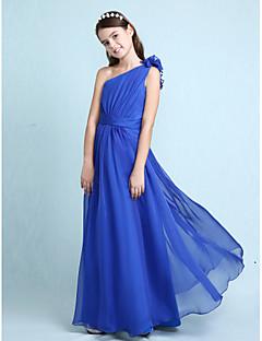 Lanting Bride® עד הריצפה שיפון שמלה לשושבינות הצעירות  גזרת A / נסיכה כתפיה אחת טבעי עם קפלים / סרט / בד נשפך בצד