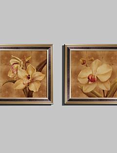 Virágos / Botanikus Bekeretezett vászon / Bekeretezett szett Wall Art,PVC Barna Háttéranyag nélkül a Frame Wall Art