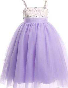 Balowa Lekko nad kolana Sukienka dla dziewczynki z kwiatami - Tiul Bez rękawów Paski z Koraliki