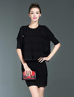Damen Solide Einfach Formal Set Rock,Rundhalsausschnitt Frühling / Sommer ¾-Arm Weiß / Schwarz Wolle / Polyester Mittel