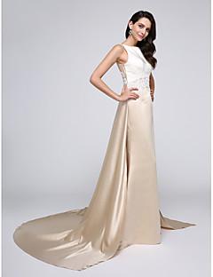 2017 ts couture® de noite formal vestido A linha bateau capela de cetim trem com apliques
