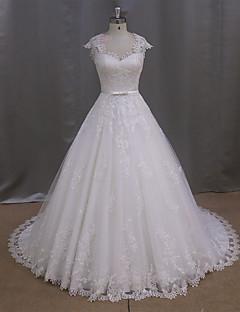 A-라인 웨딩 드레스 스윕 / 브러쉬 트레인 스윗하트 튤 와 버튼 / 허리끈 / 리본 / 아플리케 / 리본
