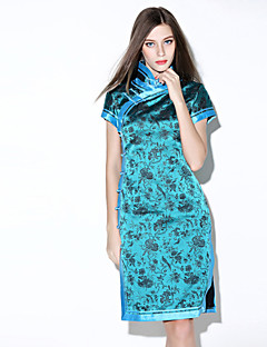 i-yecho einfacher Druck, figurbetontes Kleid der Frauen, stehen Polyester Knielänge