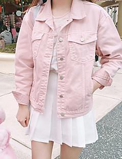Mulheres Jaquetas Jeans Casual Simples Outono,Sólido Rosa Algodão Colarinho de Camisa Manga Longa Média