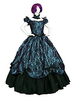 Uma-Peça/Vestidos Gótica Steampunk® Vitoriano Cosplay Vestidos Lolita Estampado Manga Curta Comprimento Longo Vestido ParaCetim Renda