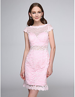 Lanting Bride®Short / Mini Lace Bridesmaid Dress - See Through Sheath / Column Bateau with Lace