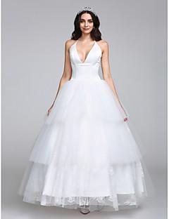 Lanting Bride® A-라인 웨딩 드레스 발목 길이 홀터 넥 새틴 / 튤 와 레이스