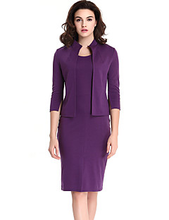 Feminino Conjunto Saia Suits Casual / Trabalho / Tamanhos Grandes Moda de Rua Todas as Estações,Sólido Roxo Algodão / PoliésterGola