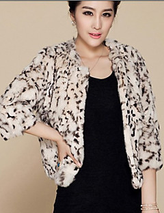 Women's Plus Size / Casual/Daily / Party/Cocktail Sexy / Simple Fur Coat,Leopard Round Neck ¾ Sleeve Fall /