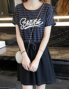 Women's Casual/Daily / Plus Size Cute Two Piece Dress,Striped Round Neck Knee-length Sleeveless Blue Cotton / Rayon Summer