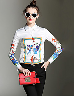 Dámské Tisk Jdeme ven Vintage Košile-Všechna období Polyester Košilový límec Dlouhý rukáv Bílá / Oranžová Střední