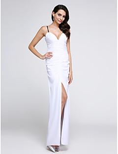 TS Couture® 포멀 이브닝 드레스 시스 / 칼럼 스파게티 스트랩 바닥 길이 쉬폰 와 루시 주름 장식
