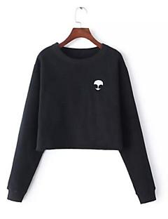 בינוני (מדיום) סתיו / חורף כותנה שרוול ארוך צווארון עגול שחור / אפור דפוס פשוטה יום יומי\קז'ואל Hoodies קצר נשים