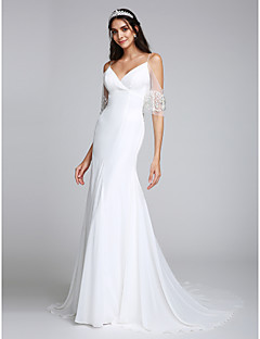 Lanting Bride Trumpet / Mermaid Wedding Dress Court Train Spaghetti Straps Chiffon with Beading