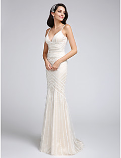Lanting Bride Trumpet / Mermaid Wedding Dress Court Train Spaghetti Straps Tulle with Appliques