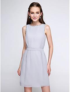 Lanting Bride®Short / Mini Chiffon Bridesmaid Dress - Color Block Sheath / Column Jewel with Beading
