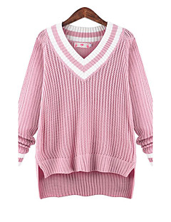 Women's Plus Size Simple Regular Pullover,Solid Pink / Purple V Neck Long Sleeve Polyester Fall Medium