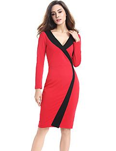 Women's Plus Size / Casual/Daily / Work Street chic Sheath Dress,Color Block V Neck Knee-length Long Sleeve (S-XXXXL)