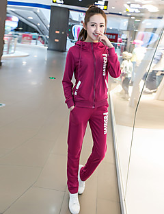 Women's Going out / Sports Cute / Street chic Regular Hoodies,Solid Pink / Red / Gray Hooded Long Sleeve