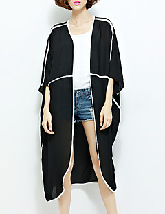 Women's Casual/Daily Simple All Seasons Cloak/Capes,Solid Round Neck Short Sleeve Black Polyester Thin
