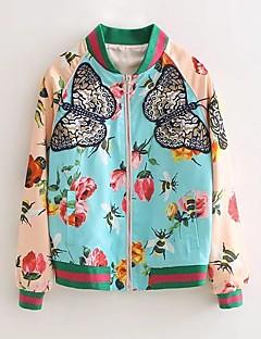 Damen Stickerei Einfach Lässig/Alltäglich Jacke,Ständer Herbst Langarm Grün Baumwolle Mittel