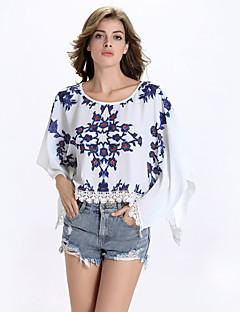T-shirt Da donna Casual Sensuale Estate,Fantasia floreale Rotonda Lino Bianco Mezze maniche Opaco