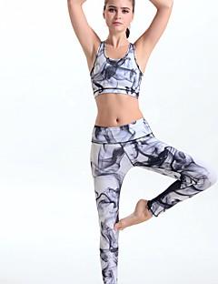 Dame Ermeløs Løp Leggings Klessett/Dresser Komprimering Vår Sommer Høst Drakter Yoga & Danse Sko Løp Polyester Tett Grå Printer