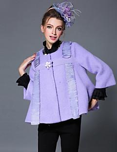 aofuli europa kvinders coat vinter tykkere uldne vintage perle læg patchwork plus size løs frakke jakke